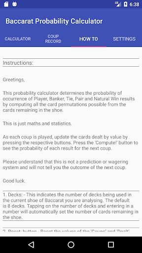 Baccarat Probability Calculator (Full) 52 APK